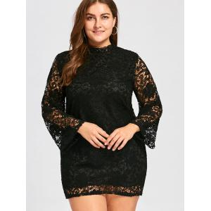 Plus Size Long Sleeve Lace Crochet Sheath Dress -
