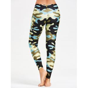 Camouflage Printed Stretchy Yoga Leggings - BLUE S