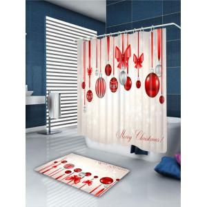 Christmas Colorful Balloons Bowknot Bath Curtain -