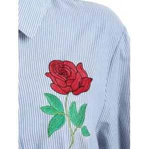 Plus Size Pocket Floral Embroidered Striped Shirt - BLUE 2XL