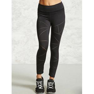 Openwork Sport Leggings - BLACK XL