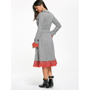 Houndstooth Print Lace Trim Belted Long Coat - Blanc et Noir 2XL