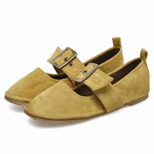 Buckle Strap Faux Suede Flats - YELLOW 35