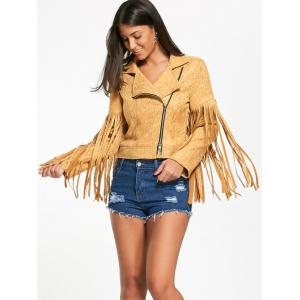 Zip Up Long Fringed Short Jacket - YELLOW S