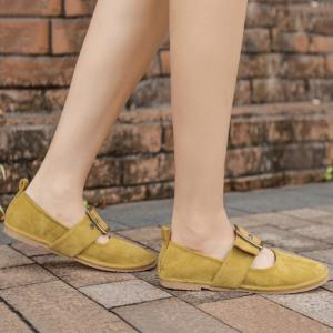 Buckle Strap Faux Suede Flats - YELLOW 37