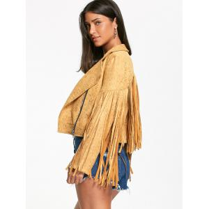Zip Up Long Fringed Short Jacket - YELLOW 2XL