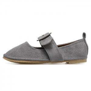 Buckle Strap Faux Suede Flats - GRAY 38