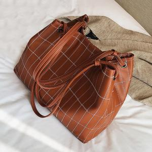 Faux Leather Stitching Plaid Shoulder Bag - BROWN