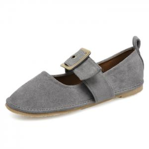 Buckle Strap Faux Suede Flats - GRAY 35