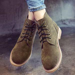 Ankle Lace Up Faux Suede Boots - ARMY GREEN 39