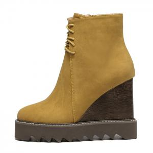 Lace Up Corduroy Wedge Ankle Boots - YELLOW 39