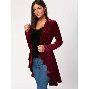 One Button High Low Velvet Peplum Blazer - Rouge vineux  M