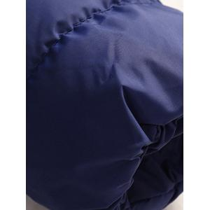 Zip Up Upchable Hood Quilted Jacket - Bleu Cadette 5XL