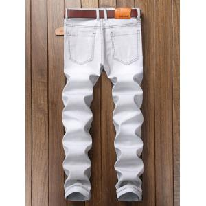 Cartoon Graphic Appliques Ripped Jeans - LIGHT GRAY 30