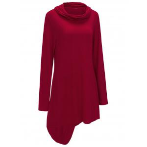 Asymmetric Cowl Neck Sweatshirt Dress - RED L