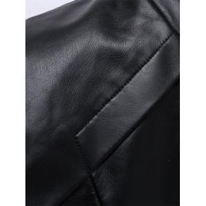 Panel Design Zip Up Faux Leather Jacket - COFFEE 3XL