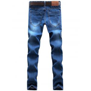 Straight Leg Zip Fly Faded Jeans - BLUE 32