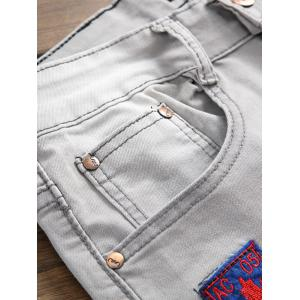 Embroidered Appliques Ripped Jeans - LIGHT GRAY 30