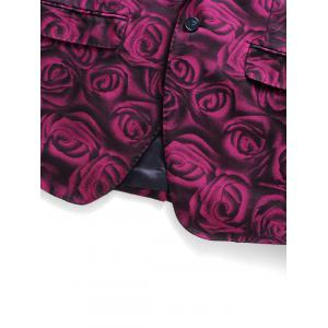 Slim Fit 3D Roses Print Blazer Three Piece Suit - PURPLISH RED XL