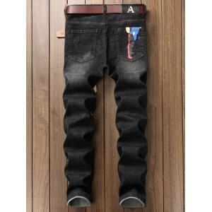 Color Block Graphic Print Straight Leg Jeans - DEEP GRAY 30