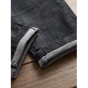 Embroidered Patch Straight Leg Ripped Jeans - DEEP GRAY 30