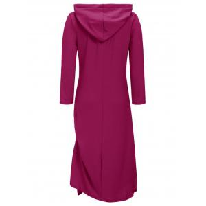 Casual Side Ruched Hooded Dress - PURPLISH RED M