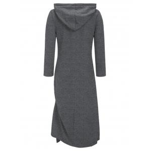 Casual Side Ruched Hooded Dress - GRAY 2XL