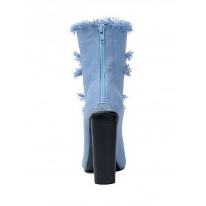 Chunky Heel Pointed Toe Hollow Out Boots - BLUE 39