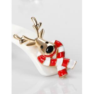 Christmas Elk Tiny Candy Cane Brooch - RED