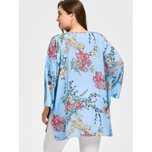 Long Floral Plus Size Flare Sleeve Cadigan -