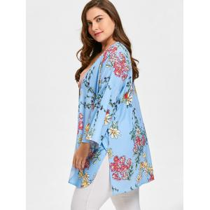 Long Floral Plus Size Flare Sleeve Cadigan - BLUE 2XL