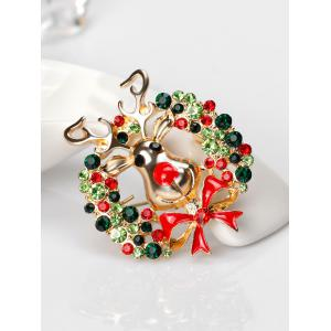 Rhinestone Christmas Wreath Deer Brooch - Vert
