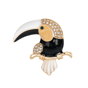 Rhinestone Embellished Two Tones Toucan Shape Brooch - WHITE AND BLACK