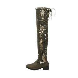 Chunky Heel Round Toe Print Thigh High Boots - ARMY GREEN 39