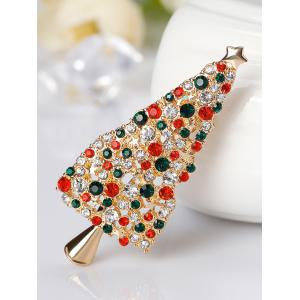 Rhinestone Sparkly Christmas Tree Star Brooch -