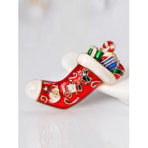 Christmas Full Gift Sock Shape Brooch - RED