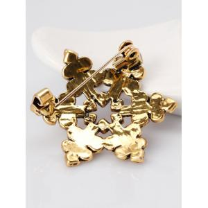 Rhinestone Hollow Out Snowflake Brooch - GREEN
