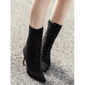 Lace Up Stiletto Pointed Toe Boots - BLACK 35