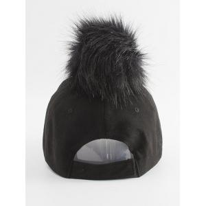 Pom Baseball Hat with Hoop Ring - BLACK