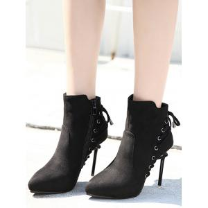 Stiletto Pointed Toe Eyelet Ankle Boots - BLACK 34