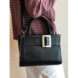 Buckle Strap PU Leather Handbag - BLACK