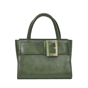 Buckle Strap PU Leather Handbag - GREEN