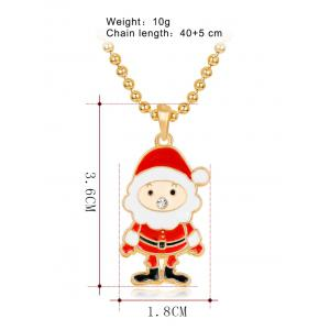 Rhinestone Beaded Chain Christmas Santa Necklace -