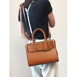 Buckle Strap PU Leather Handbag - BROWN