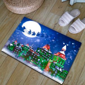 Thickening Christmas Sled Building Bath Rug -