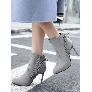 Stiletto Pointed Toe Eyelet Ankle Boots - GRAY 39