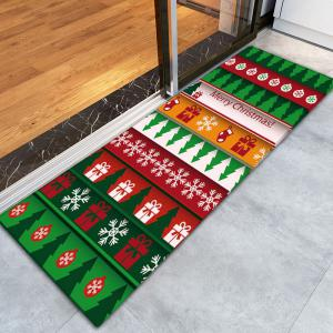 Flannel Thin Christmas Graphic Antiskid Rug -