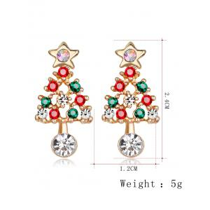 Acrylic Rhinestone Hollow Out Christmas Tree Shape Earrings - COLORMIX