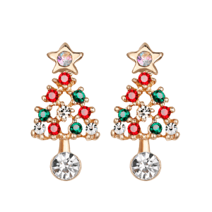 Acrylic Rhinestone Hollow Out Christmas Tree Shape Earrings -