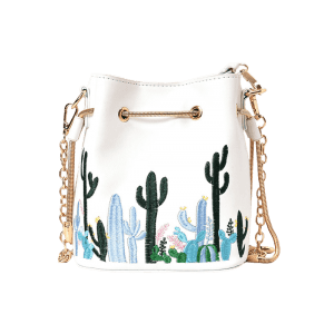 Chain Embroidery Drawstring Crossbody Bag -